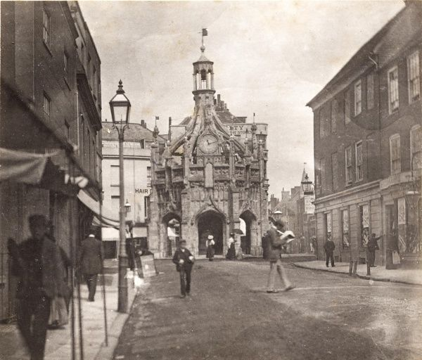 Chichester: the Market Cross from South Street, 1897