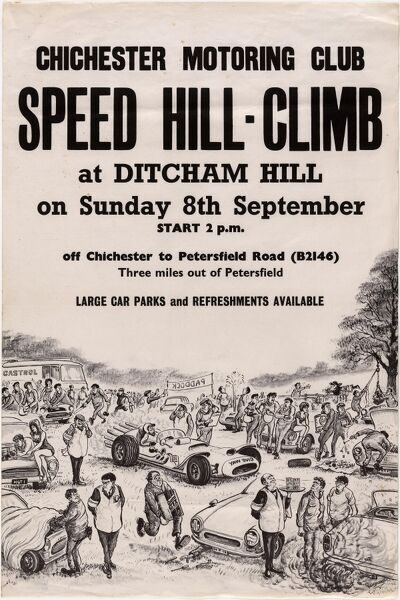 Chichester Motoring Club Speed Hill Climb at Ditcham Hill Poster, Sunday 8th September West Sussex Record Office Ref No: AM712-17