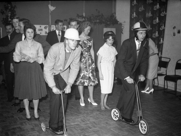 Party games at the Chicks Lambretta Club's Christmas party Chichester Photographic Collection West Sussex Record Office Ref No: CPS 0985/1