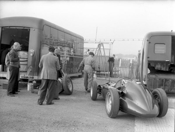 Racing car and crew, March 1956